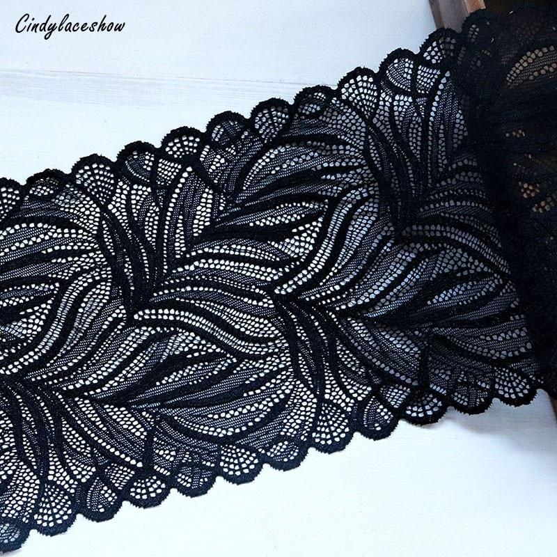 """Diseño Ancho Negro Elástico Encaje Floral Lencería Disfraz De Costura recorte 6/"""" 15cm"""