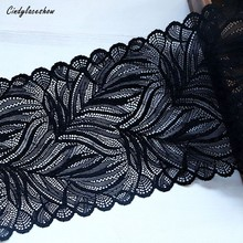 1 Yard 16.5cm Width Leaves Elastic Stretch Lace Trims Black For  Clothing Accessories Dress Sewing Applique Costume Fabrics