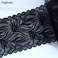 1 jarda 16.5cm largura folhas elástico estiramento rendas guarnições preto para acessórios de vestuário vestido de costura applique traje rendas tecidos