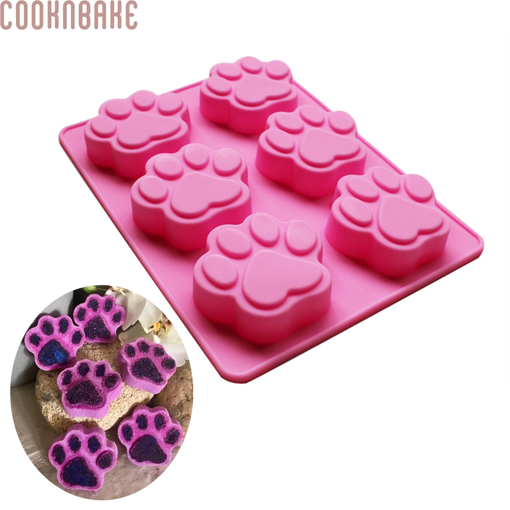 COOKNBAKE DIY Silicone Mold voor Chocolade, Ice cube, Jelly, Pudding, Zeep, Cake, met 6 Gaten Cat Paw SSCM-001-10