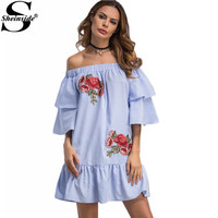 Sheinside Floral Patches Holiday Frill Dress Blue Bardot Neckline Striped Women Summer Dresses 2017 Cute Layered