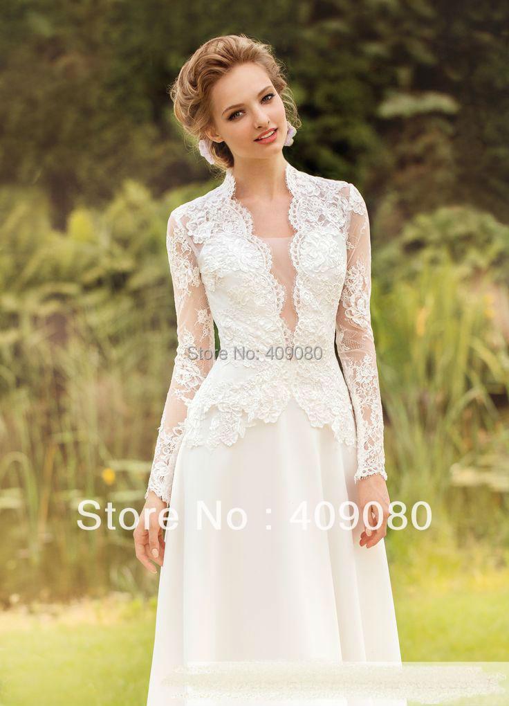 New Noble White Ivory Lace Long Sleeve Wedding Dress Custom Size 8 10