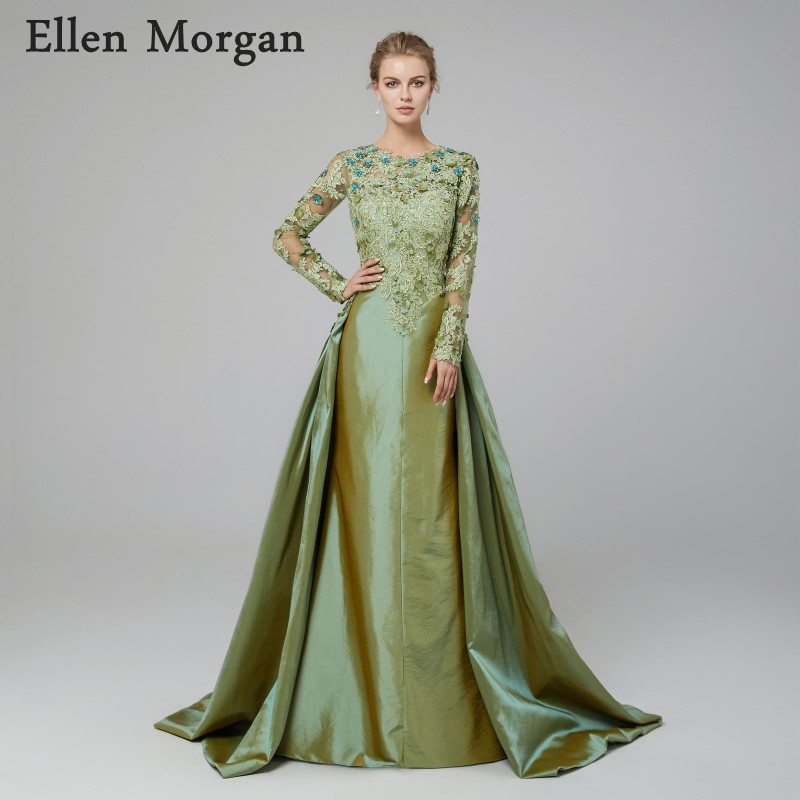 Evening Dresses Saudi Arabic Mermaid Evening Dress Long Sleeves 2019 Elegant Kaftan Dubai Moroccan Prom Dresses With Over Skirt Train Party Gown