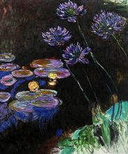Water Lilies and Agapanthus by Claude Monet Handpainted