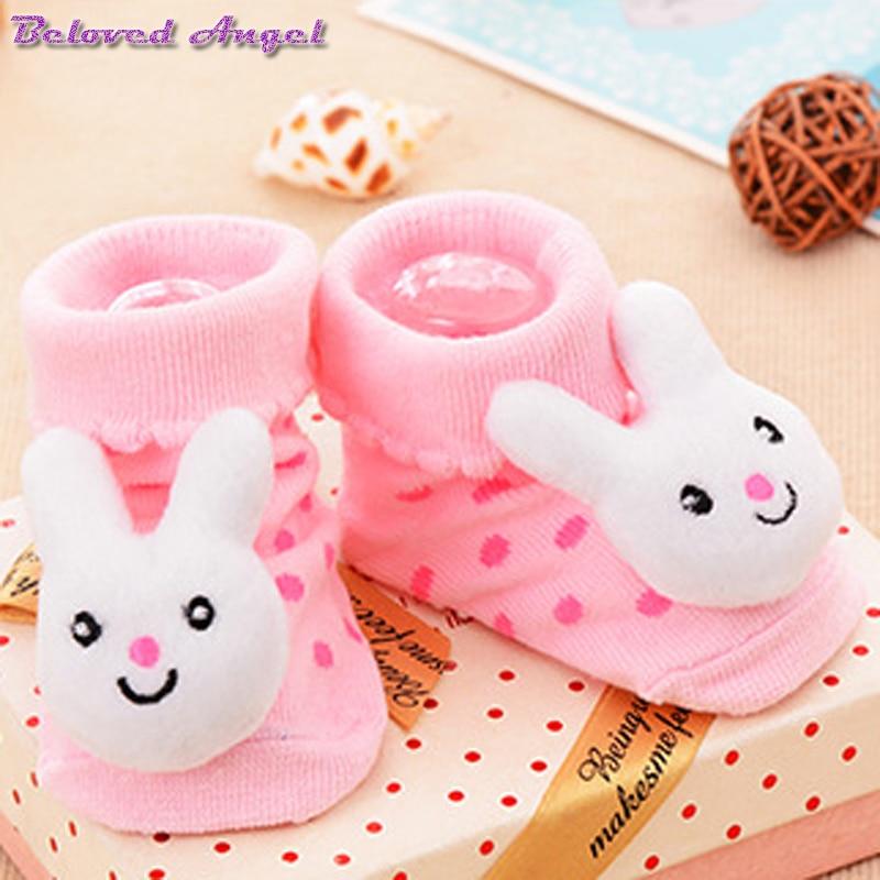 0-18 Mt Baby Socken Baumwolle Cartoon 3d Druck Neugeborene Sohlen Stiefel Pantoffel Kind Für Junge Mädchen Babys Socke Kinder Anti-slip Boden Tragen
