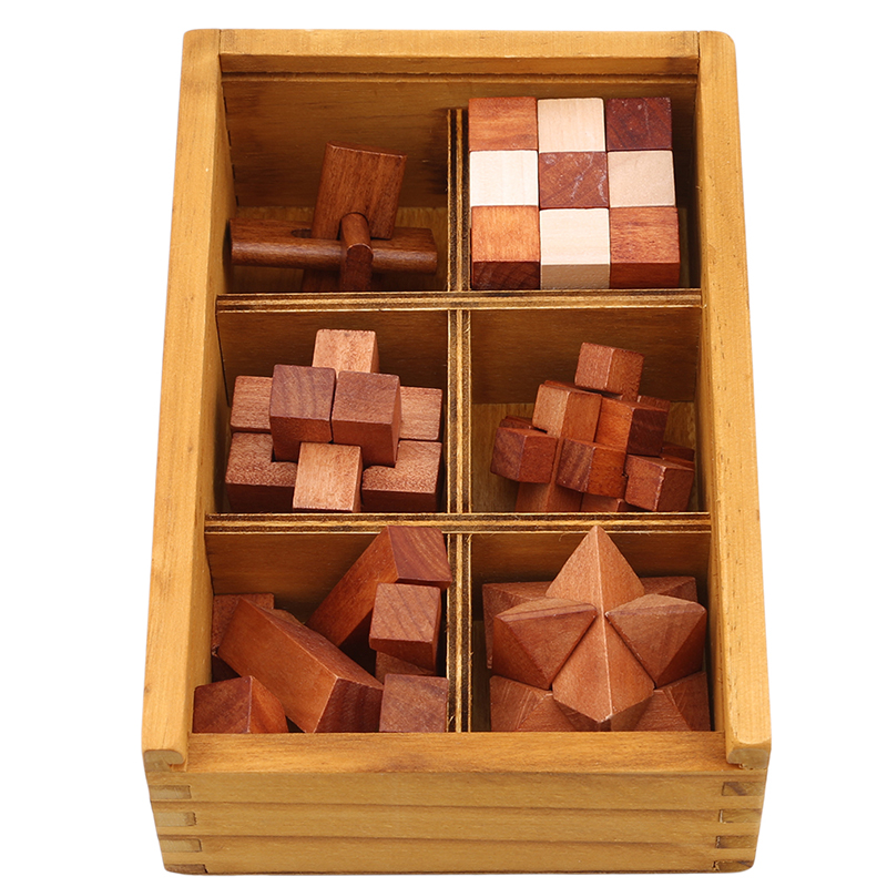 6 Pcs/set Wooden Kong Ming Lock Puzzles Popular Toy Intelligence Training Puzzle 3D Interlocking Puzzle Games Toys For Children