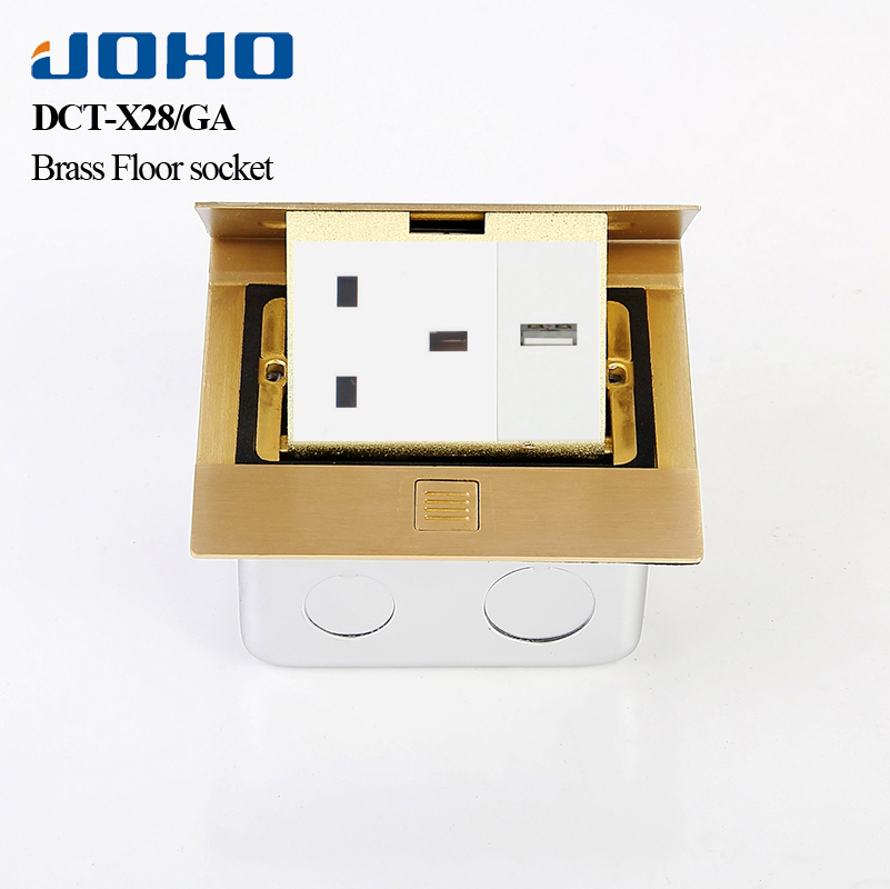 JOHO Slow Pop Up 3 Hole Floor SocketBrass Alloy Panel Box With 13A UK Socket Snd RJ45 Computer Data General-Purpose Convenience brass slow pop up floor socket box with 15a 125v us socket rj45 computer data