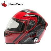 FreedConn Motorcycle Helmet Motorcycle Flip Up Helmet With Built In Intercom System DOT Double Lens Motorbike