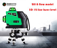 New 3D Green 12 Lines Laser Level 360 Rotary Self Leveling with Battery and Tilt Slash Function Outdoor EU 532nm Laser Beam