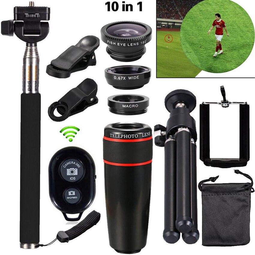 imágenes para 10in1 Teléfono Cámara Lenti 8x Telescopie MacroTripod Lentes de ojo de Pez Lente Gran Angular Para el iphone Samsung Xiaomi Asus Motorola