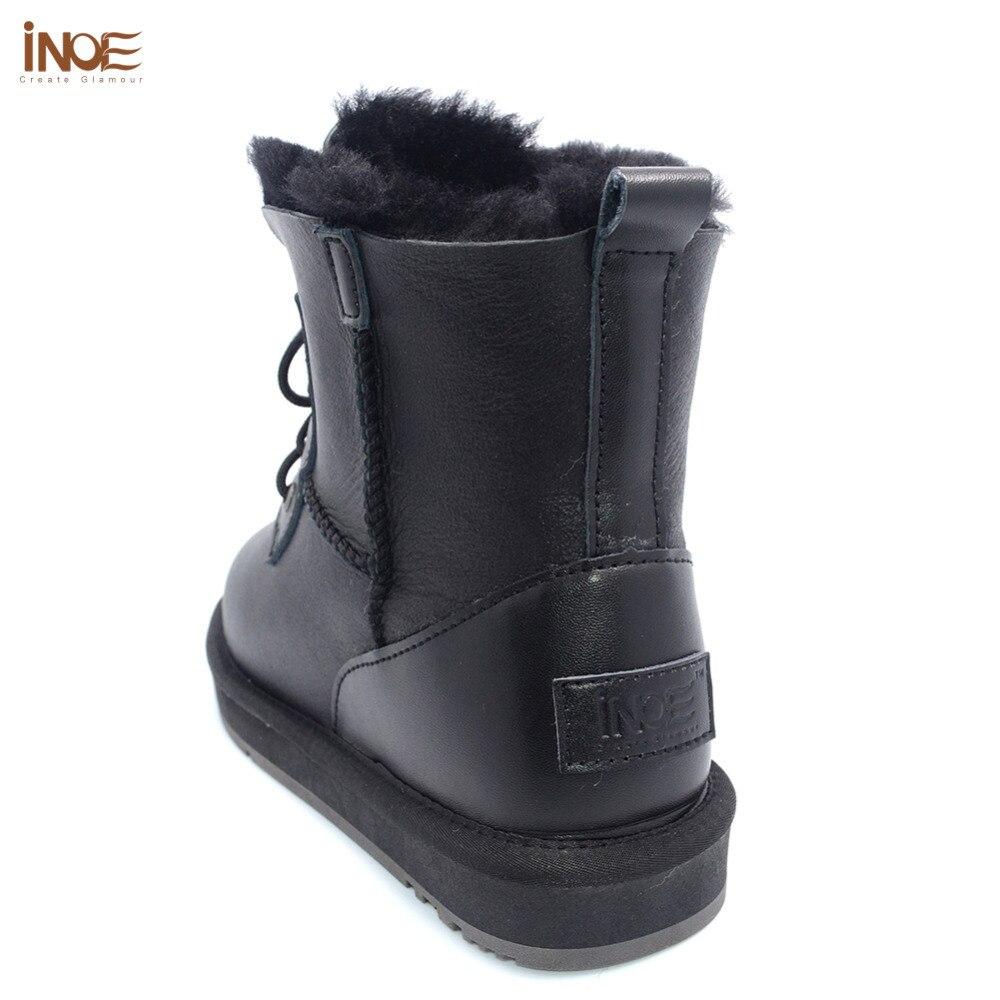 Real Black Para Oveja Ovejas Piel Zapatos Invierno Casual Nieve Tobillo Negro Impermeable Mujeres 44 Las De Metal Forrado Botas 35 EHqBwBg