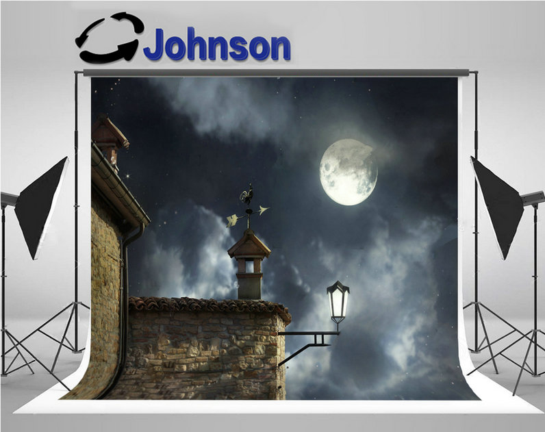 rooftop Antique Vane Rooster Chimneys Night Sky Full Moon Clouds backdrop Vinyl cloth Computer print wall backgrounds