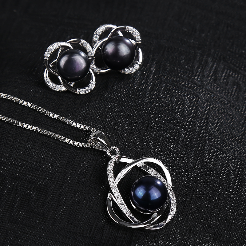 NYMPH Pearl Jewelry Sets Natural FreshWater Pearl Necklace Pendant Earrings Fine Trendy Wedding Party Gift Women NYMPH Pearl Jewelry Sets Natural FreshWater Pearl Necklace Pendant Earrings Fine Trendy Wedding Party Gift Women RoseT202-H