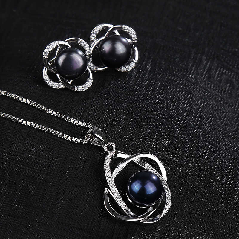 Zestawy biżuterii z pereł NYMPH naturalna perła słodkowodna naszyjnik wisiorek kolczyki Fine Trendy Wedding Party prezent kobiety RoseT202-H