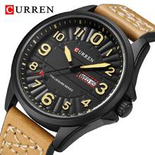 CURREN moda sportowe zegarki męskie skórzany pasek męski zegarek kwarcowy mężczyźni Top marka luksusowy chronograf wodoodporny zegar męski tanie tanio Curren Blanche 23cm QUARTZ 3Bar Sprzączka CN (pochodzenie) STOP 12mm Hardlex Kwarcowe zegarki bez opakowania Skórzane