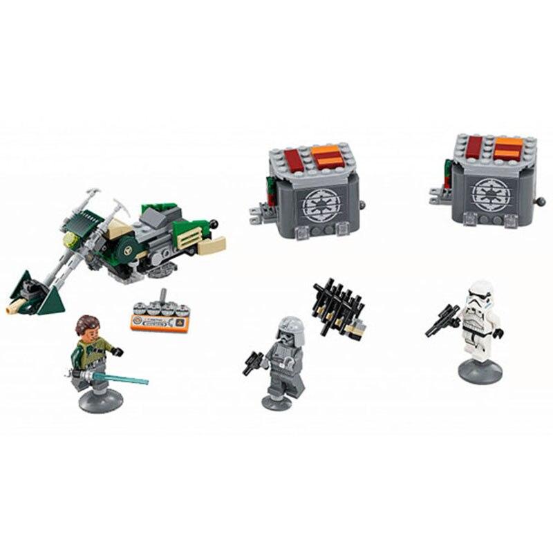 Compatible Legoe giftse BL10574 serie Star Wars kanen's Speeder bicicleta despierta Alianza Rebelde bloques ladrillos Juguetes