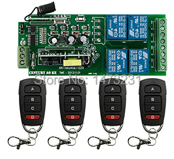 ФОТО New AC85v~250V 110V 220V 230V 4CH Remote Control Switch Relay Output Radio Receiver Module and Waterproof Transmitter
