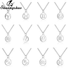 Shuangshuo 12 Constellation Stainless Steel Pendant Necklaces For Women Jewelry Silver Necklace Chain Choker Collier femme Gift(China)