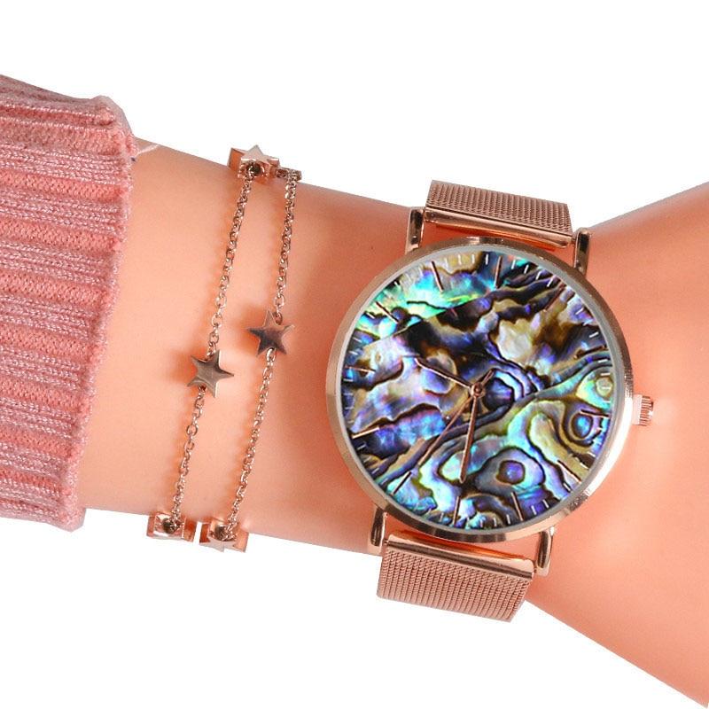 Mavis Hare Real abulón rosa de malla de oro relojes serie océano mujeres relojes de pulsera con estrella cadena brazalete de dos capas para Navidad
