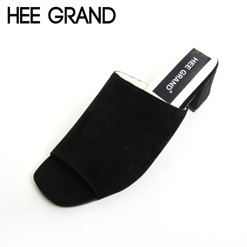 HEE GRAND Flock Summer Sandals Women Simple Square Peep-toe Slides Thick Heel Summer Shoes For Woman XWZ3532 hee grand cross tied women sandals summer sexy square high heels flock wedding shoes woman elegant pumps ladies 3 colors xwz2049