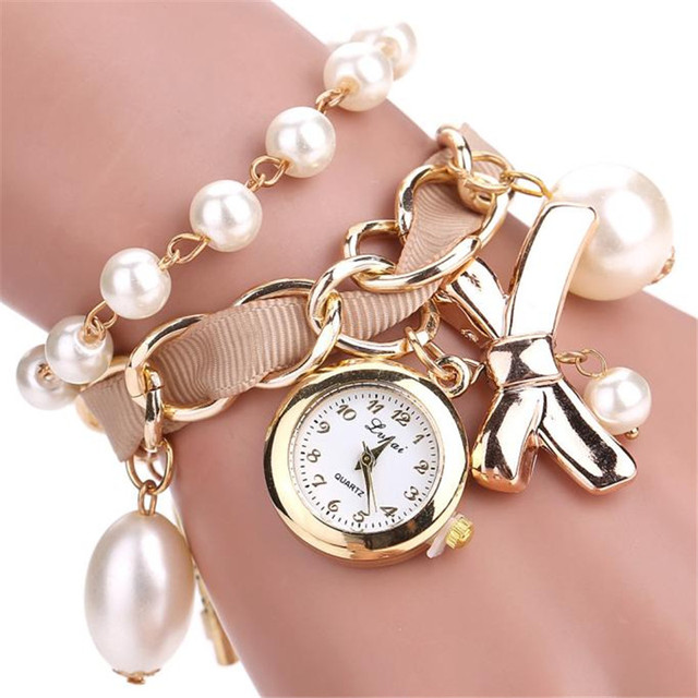 New Arrive Bow Gold Casual Pearl Anchor Bracelet watches Fashion Ladies Girls Wo