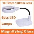 10X настольная Светодиодная настольная лупа с лампой  увеличительное стекло для ремонта печатной платы мобильного телефона 110В-240В с 6 светод...