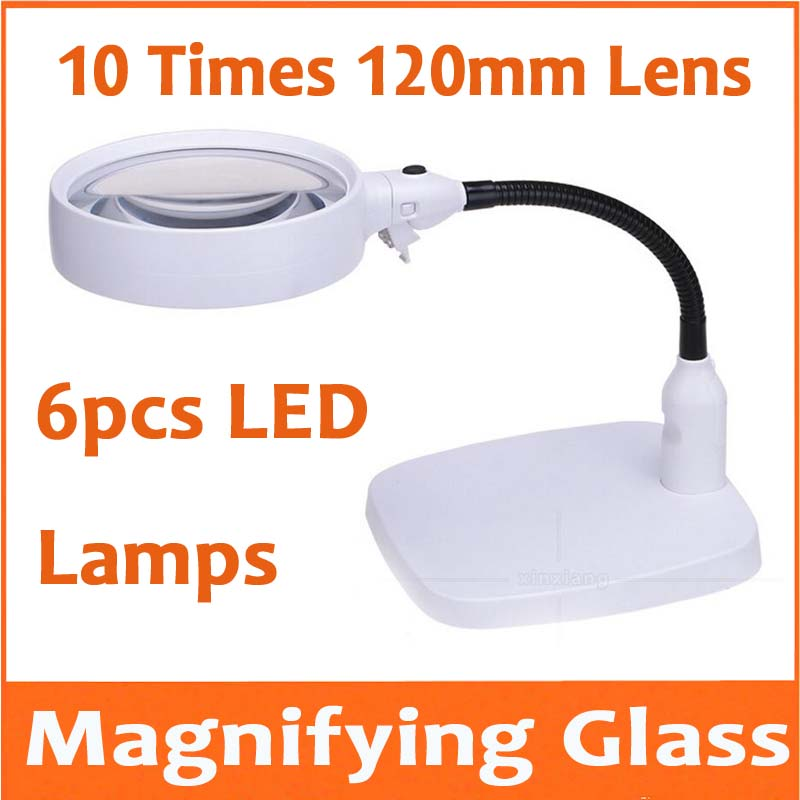 10X Desktop LED Magnifier Table Lamp Light Magnifying Glass for Mobile Phone Circuit Board Repair 110V-240V with 6pcs LED Lamps 10X Desktop LED Magnifier Table Lamp Light Magnifying Glass for Mobile Phone Circuit Board Repair 110V-240V with 6pcs LED Lamps