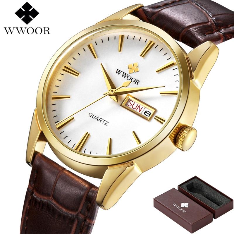 Brand Luxury Men's Watch Date Day Genuine Leather Strap Sport Watches Male Casual Quartz Watch Men Wristwatch Famous WWOOR Clock