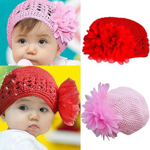Hot Baby Toddler Beanie Hat Flower Hand Crochet Knit Cap Kids Girls Winter Warm 7FRK hot winter beanie knit crochet ski hat plicate baggy oversized slouch unisex cap