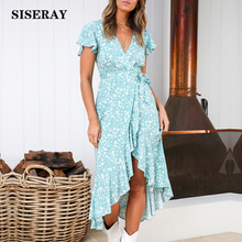 2019 Elegant Floral Ruffle Asymmetrical Maxi Dress Women Summer V Neck Holiday Wrap Dress Long Vestidos Romantic Dress For Lady ruffle sleeve floral wrap dress
