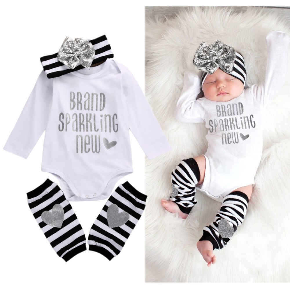 Newborn Infant Baby Girl Bodysuit Romper Stripe Bow Headband Warmer 3pcs Outfits Bebek Clothing Set 0-18M  недорого