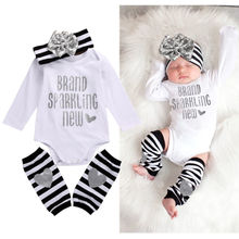 Newborn Infant Baby Girl Bodysuit Romper Stripe Bow Headband Warmer 3pcs Outfits Bebek Clothing Set 0-18M
