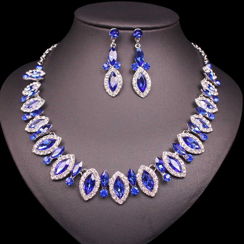 Elegant Blue Austrian Crystal Chain Necklace Jewelry Sets Cute Necklace Earrings Sets Gifts for Women Girls Party Wedding Prom