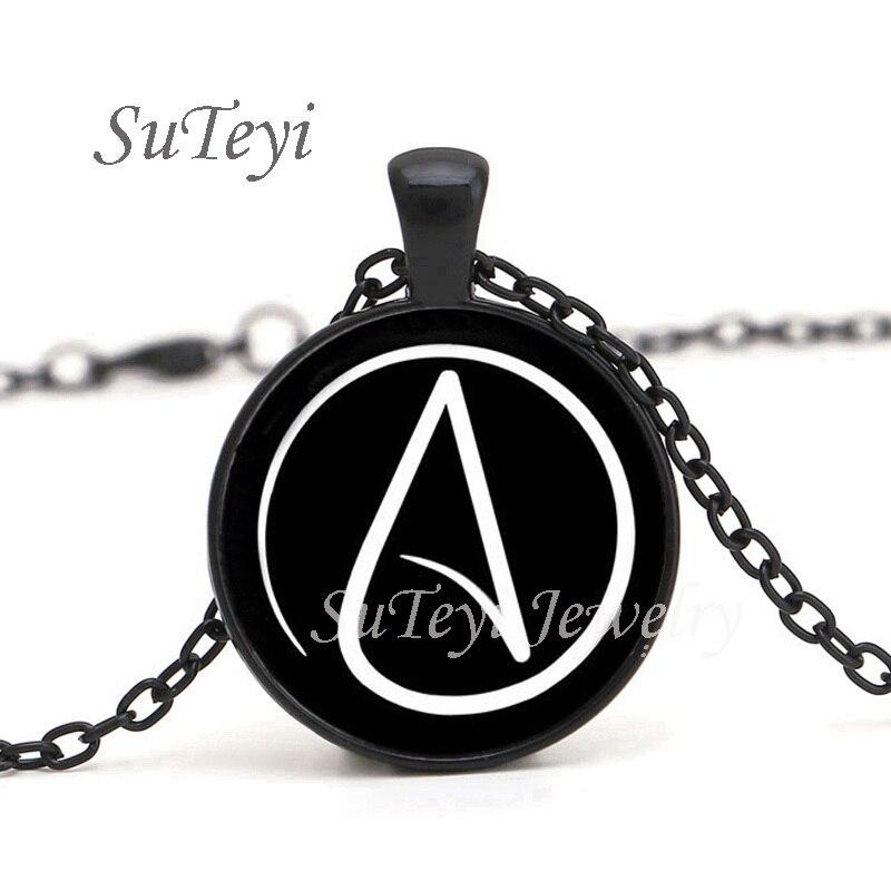 Nueva llegada de 2019 collar de símbolo de ateísmo, collar con cabujón de cúpula de cristal, collares colgantes para mujeres y hombres