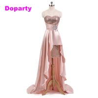 Doparty grils satin cheap pink appliques special occasion high 8th grade prom graduation dress short homecoming dresses