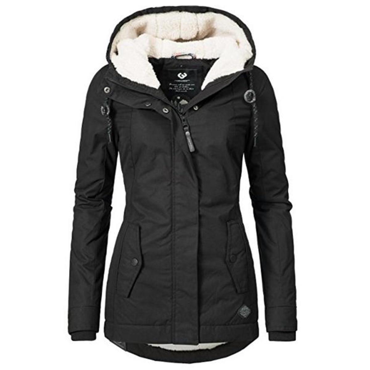 Black Cotton Coats Women Casual Hooded Jacket Coat Fashion Simple High Street Slim 2019 Winter Warm Thicken Basic Tops Female