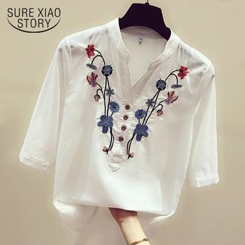 Blusas de moda para mujer 2022, blusas para mujer, blusa blanca con bordado, camisas para mujer, tops y blusas para mujer, camisas para mujer 3140 50 1