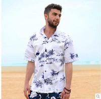 2017 Summer Men Casual Hawaiian Leisure Print Loose Shirt Male Cotton Short Sleeves Beach Resort Shirt
