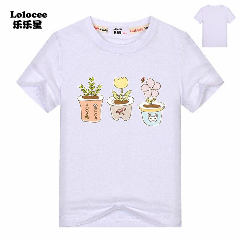 T-Shirt Girls Cactus Tops Flower-Printed Summer New Kids Tee Pot Cute