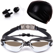 Adult swim goggles Electroplating Waterproof swimming goggles suit HD