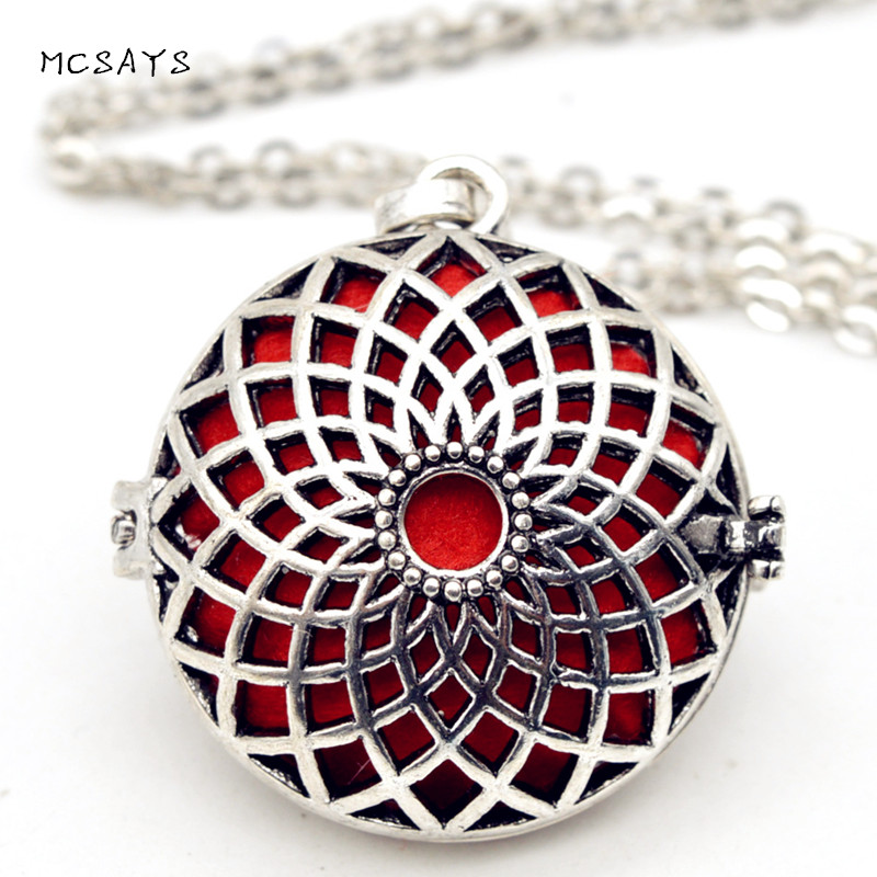 MCSAYS Viking Jewelry Hollow Sunflower Design Perfume Box Pendant Sweater Chain Simple DIY Aromatherapy Special Necklace 4SL