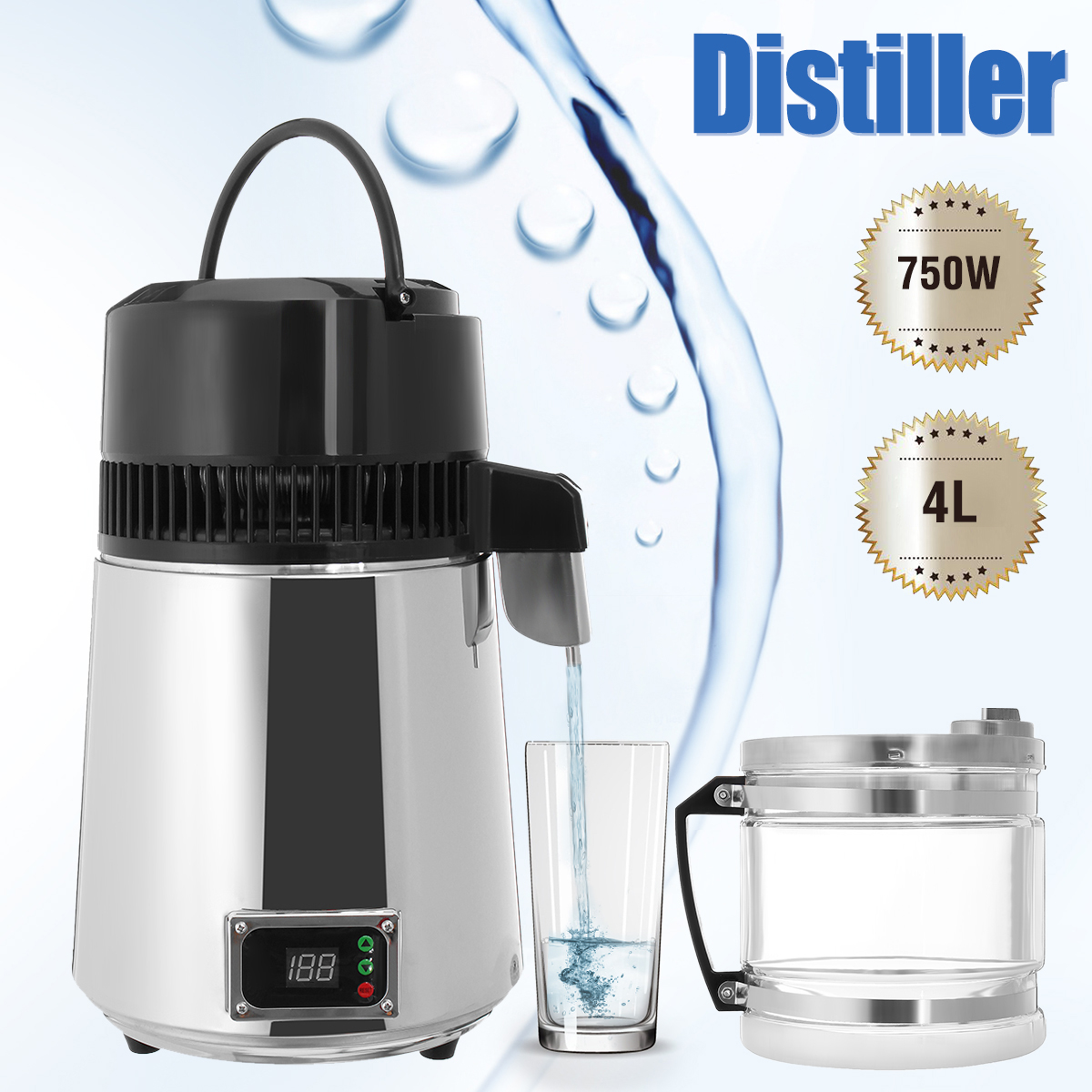 4L 750W Household Pure Water Distiller Electric Stainless Steel Water Purifier Container Filter Distilled Water Machine Glass