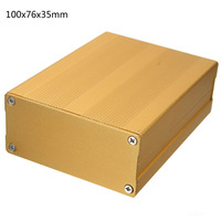 Becornce 100x76x35mm DIY Gold Extruded Aluminum PCB Electronic Project Circuit Box Enclosure Box Case Electronic Instrument Kits