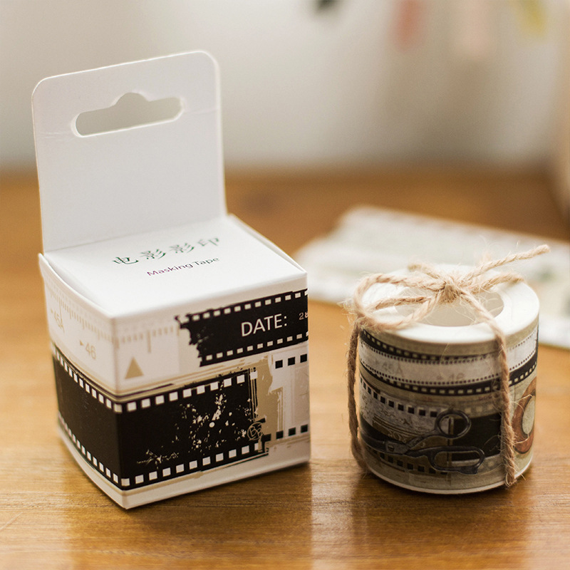 1x LORRAIN original made in Japan and paper tape hand account DIY movie screening room washi tape masking tape papeleria diy 15 tones hand cranked music box movement with hole puncher and paper tape