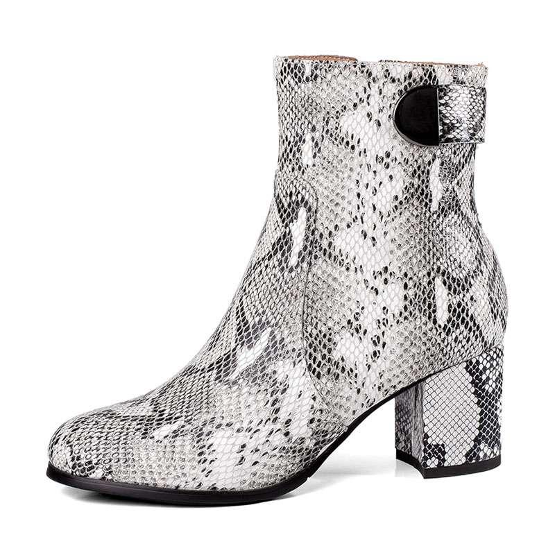 À 34 Bout Bottines Mode Épaisse Rond Multi Impression Hauts 39 Chaussures Talons Taille Cuir Fermeture Éclair Femmes Bottes En Véritable D'hiver De Carzicuzin Serpent mwO8n0vN