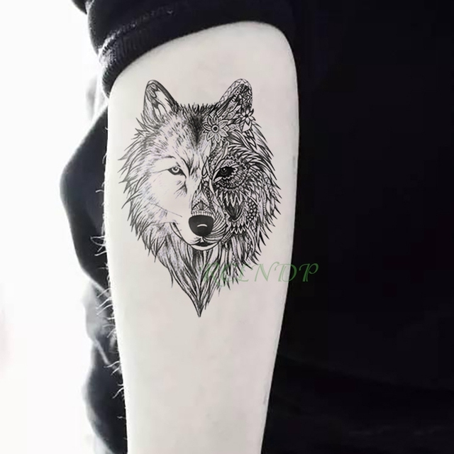 1eb6a5394 Waterproof Temporary Tattoo Sticker Animal Wolf Lion Eagle Tatto Flash Tatoo  Hand Wrist Foot Arm Neck