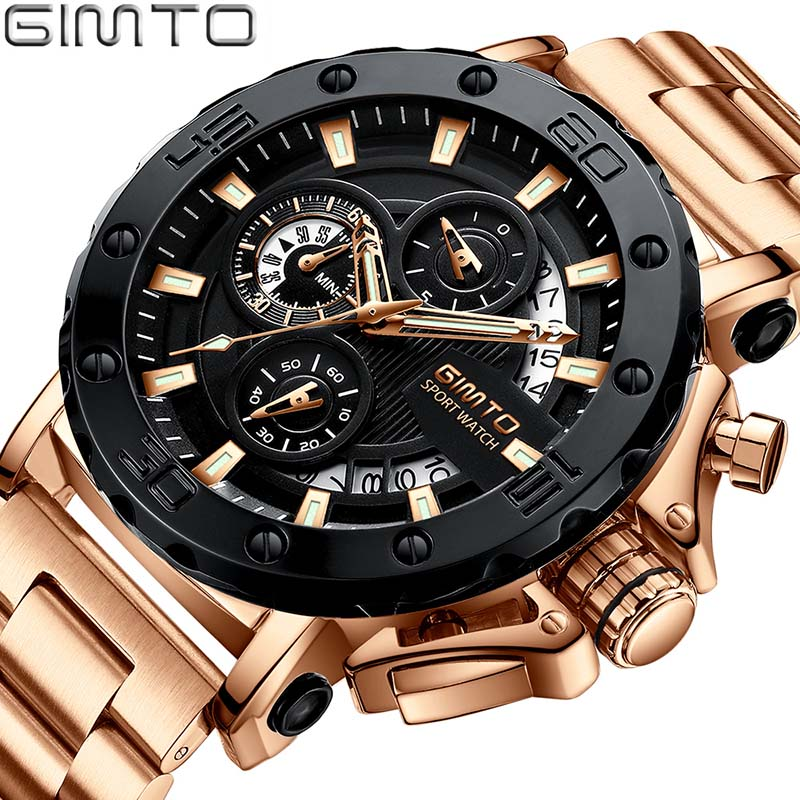 Relogio Masculino GIMTO Top Brand Luxury Watch Men Watches Golden Stainless Steel Military Wristwatch Big Dial Clock Male oulm male military watches golden oversized big quartz watch top brand men full stainless steel wristwatch relogio masculino
