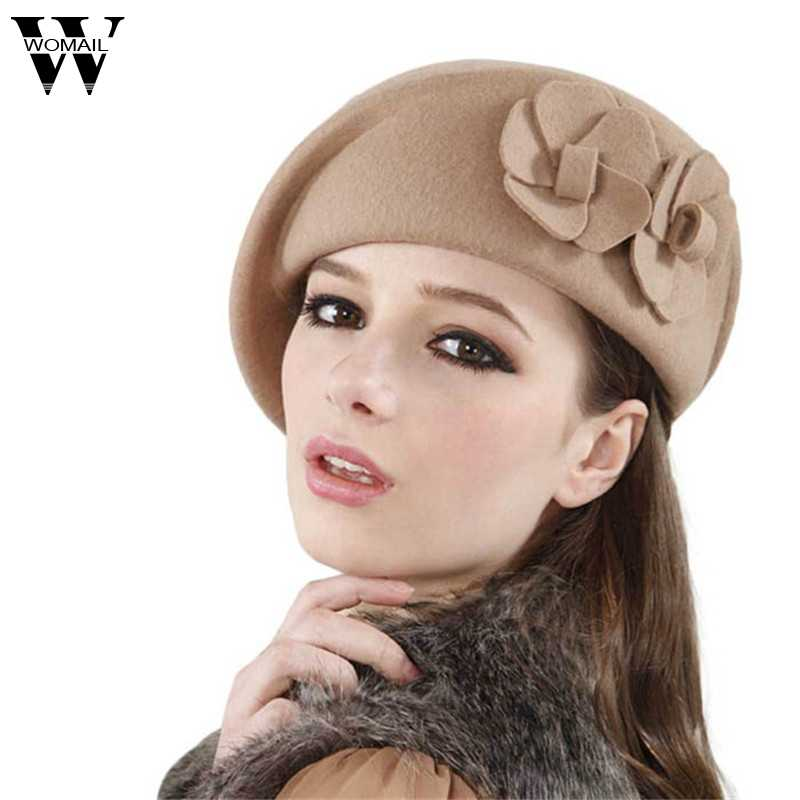 6237bf837f3 2016 Winter Women Hats Felt French Beret Caps Felt Pillbox Hat Fashion  Amazing