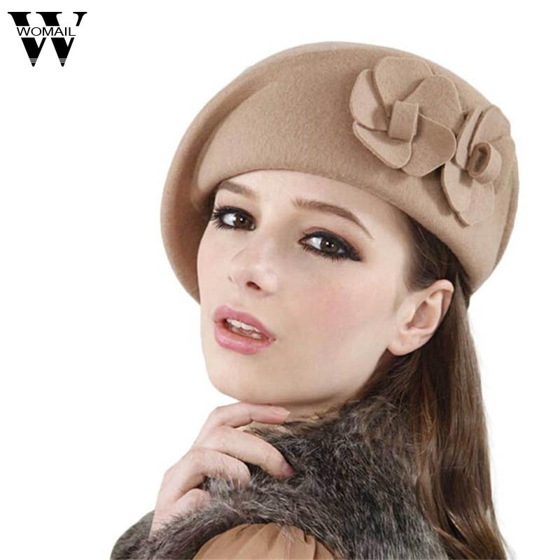 2016 Winter Women Hats Felt French Beret Caps Felt Pillbox Hat Fashion Amazing