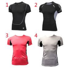 fb52d4bbc19600 Mężczyźni mocno koszulka rajstopy męskie Fitness koszulka do biegania  oddychające sportowe z krótkim rękawem Gym jazda
